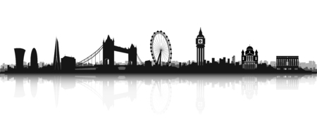 london tower bridge: London Skyline Silhouette in black and white