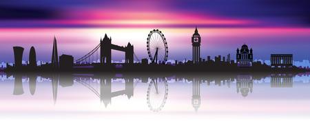 美しい夜空にロンドンのスカイライン シルエット  イラスト・ベクター素材