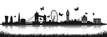 London Skyline Silhouette in black and white with butterfly