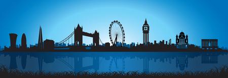 夜空でロンドンのスカイライン シルエット