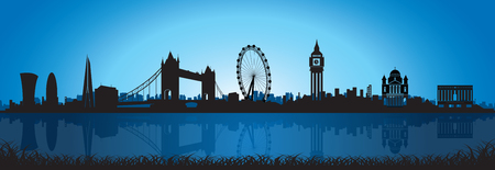 palace of westminster: London Skyline Silhouette at night sky