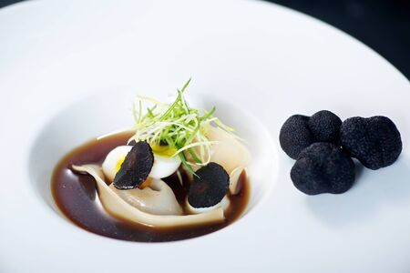 Chinese Truffle Gourmet Dumpling Dish on white plate