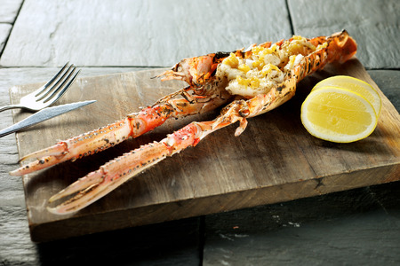norvegicus: Lobster prawn dish also know as Irish langoustine (Nephrops norvegicus), Norway lobster, scampi or Dublin Bay prawn.