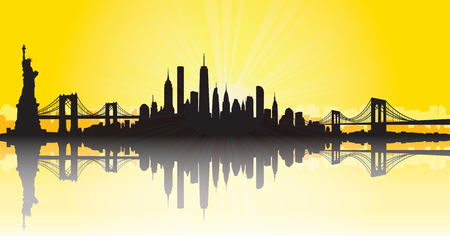 Vector of the New York skyline yellow