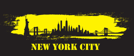 Vector of the New York skyline yellow brush stroke
