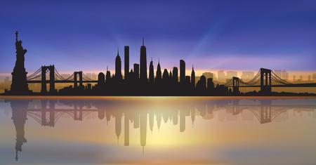 Vector of the New York skyline sunset