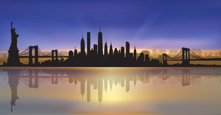 Vector of the New York skyline sunset