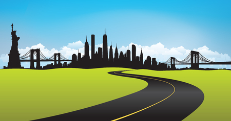 Vector of the New York skyline green environment