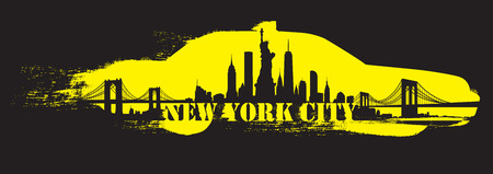 Vector of the New York skyline yellow cab