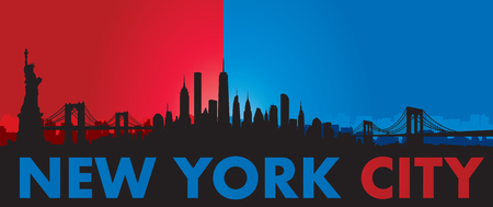 Blue red Vector of the New York skyline