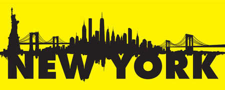 Vector of the Yellow New York skyline