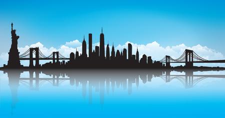 Cielo azul Vector del horizonte de Nueva York.