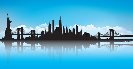 Blue Sky Vector of the New York skyline.