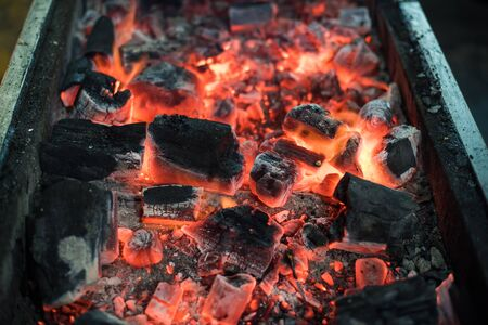 Burning Charcoal for barbecue grill