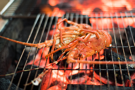 diet dinner: Seafood Lobster dinner on barbecue grill