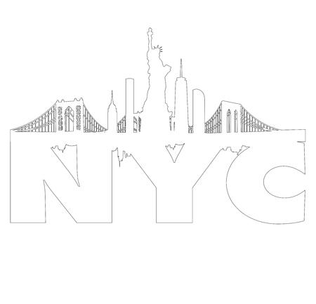 New York City skyline as outline vector