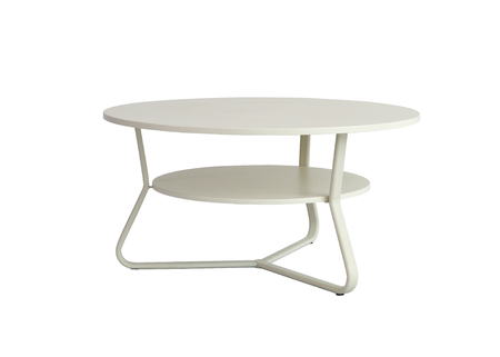 Metal round table desk on white background Stock Photo