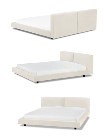 Modern beige Bed furniture in different angles Banco de Imagens