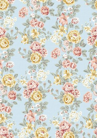repeating pattern: beautiful Rose bouquet design Seamless pattern with blue background  Stock Photo