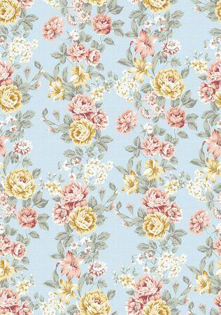 bello Rose ramo transparente patrón de diseño con fondo azul
