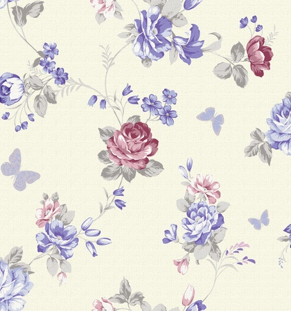 canvas print: beautiful flower design design Seamless pattern with White background  Stock Photo