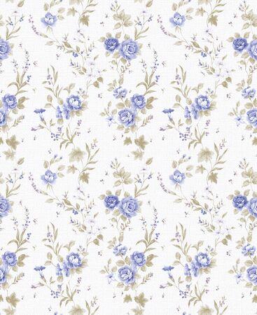 블루 로즈 부케 디자인 흰색 배경으로 원활한 패턴