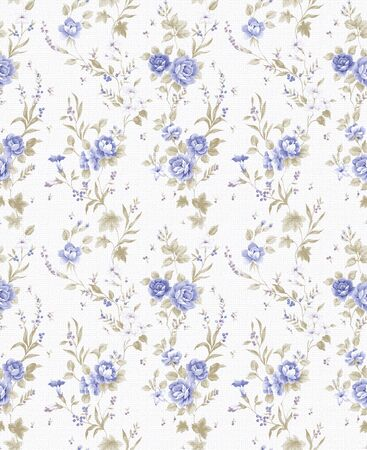 floral print: blue Rose bouquet design Seamless pattern with White background