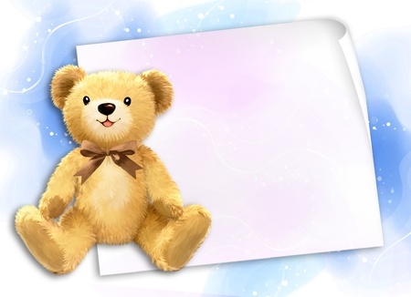 Little teddy bear by Freehand drawing.  photo