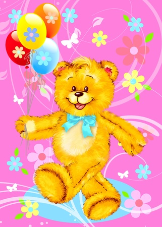 Teddy Bear with Balloons by Freehand drawing.  photo