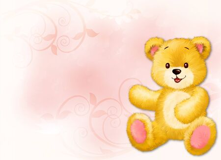 Little teddy bear by Freehand drawing.  Stock Photo
