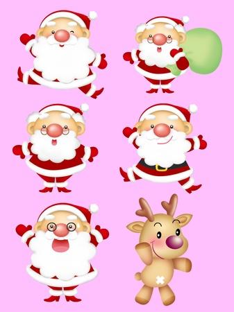 nice smile: cartoon design elements, Santa-claus, Rudolph  Stock Photo