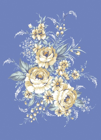 hand drawn - beautiful Rose bouquet design with Simple blue background  photo