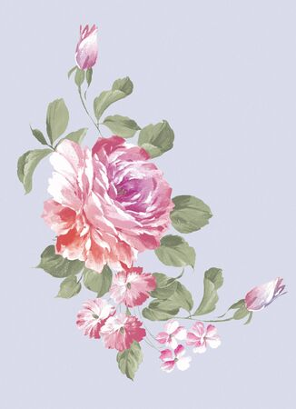 simple flower: hand drawn - beautiful Rose bouquet design with Simple background
