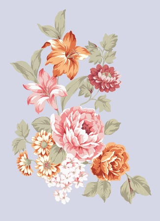 nosegay: hand drawn - beautiful Rose bouquet design with Simple background