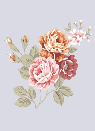 canvas painting: hand drawn - beautiful Rose bouquet design with Simple background