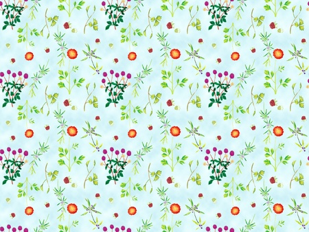 Freehand drawing- herb garden wrapping seamless pattern  photo