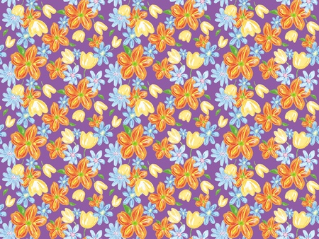 Freehand drawing- purple flower wrapping seamless pattern  photo