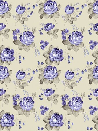 textile image: rose seamless pattern background  Stock Photo