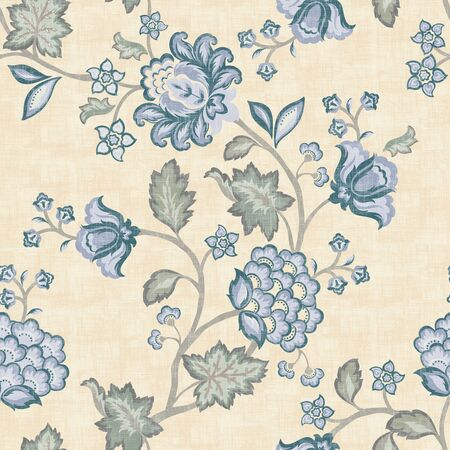 Seamless blue floral background. For easy making seamless pattern use it for filling any contours.  photo