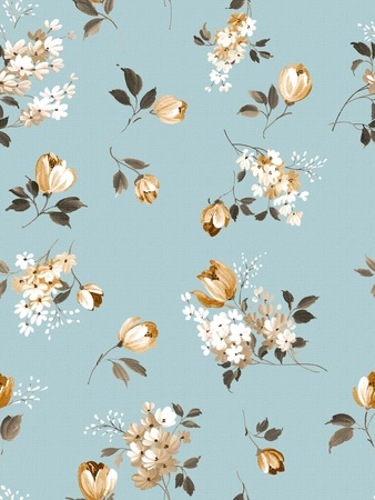 winter flower: Retro floral seamless background