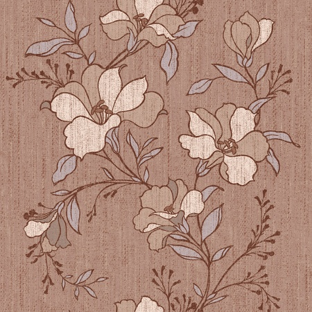textile image: backdrop, background, beautiful, beauty, blossom, blue, botany, color, decor, decoration, elegance, element, fabric, floral, flower, foliage, graphic, illustration, image, leaf, modern, natural, nature, old, ornament, ornate, pattern, petal, plant, purple Stock Photo