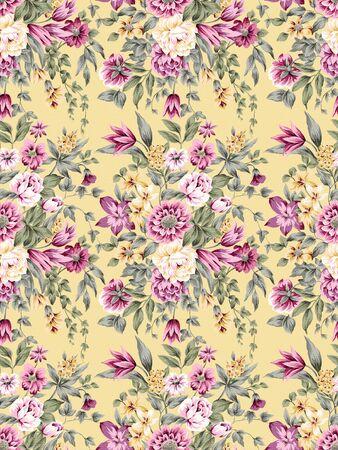 retro seamless pattern: Stylish beautiful bright floral