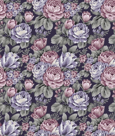 sateen: seamless floral background  Stock Photo