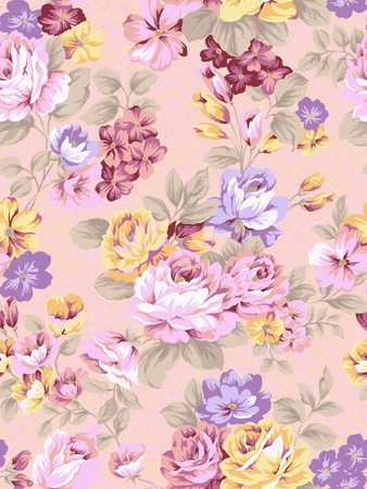 roses pattern: artwork, backdrop, background, beauty, decor, design, fabric, floral, flower, illustration, leaf, luxury, magnificence, multiply, nature, old, ornate, paisley, pattern, persia, plant, repeat, retro, richness, sateen, seamless, stylishness, textile, textur Stock Photo