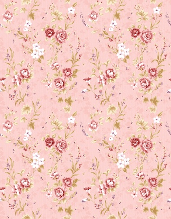 Rose bouquet design Seamless pattern with pink background  photo