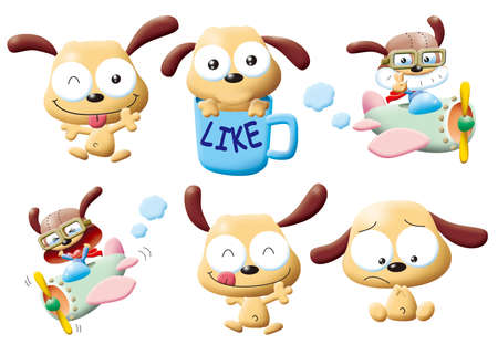 funny monsters cartoon set - dog photo