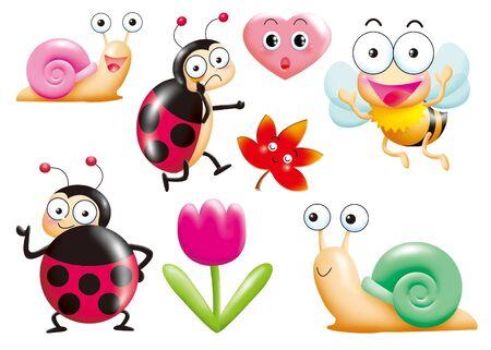 caracol: conjunto de dibujos animados de monstruos divertido - insecto