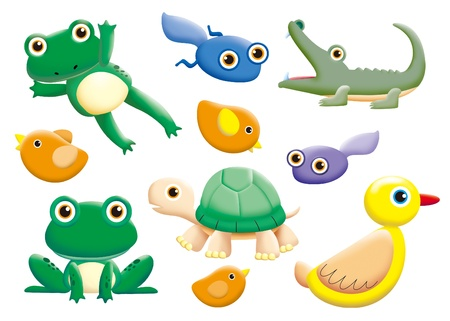 renacuajo: conjunto de dibujos animados de monstruos divertido - animal