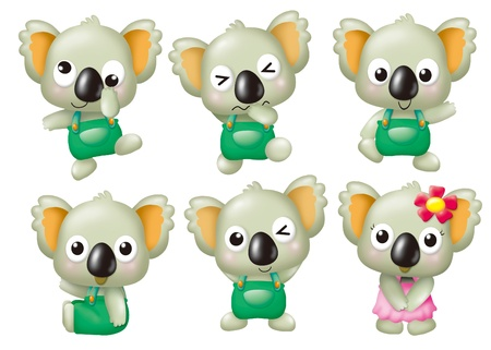 koalabeer: grappige monsters cartoon set - Koala Stockfoto