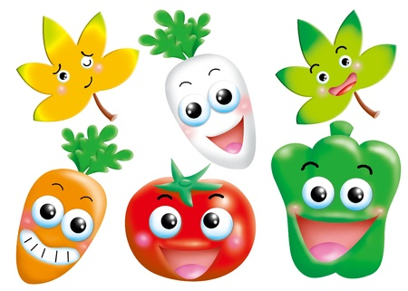 radish: funny monsters cartoon set - vegetable Stock Photo